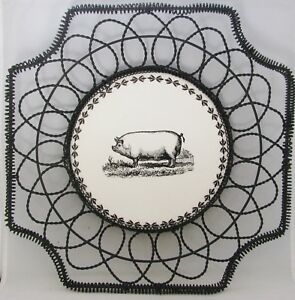 "Woven Wire 14"" Square Basket Tray Centerpiece w/ Round Ceramic Center Tile PIG"