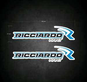 RICCIARDO Stickers - Decals - 2 x 200mm x 51mm Printed & Laminated - Karting