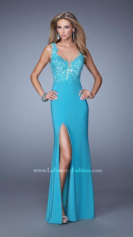 398 NWT AQUAMARINE LA FEMME PROM PAGEANT FORMAL DRESS GOWN SIZE 6