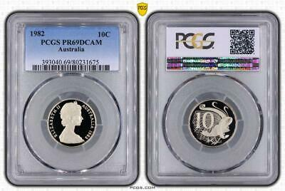 1982 Australia 10 Cents Bu Pcgs Pr69dcam Beautiful Proof In High Grade Extremely Efficient In Preserving Heat