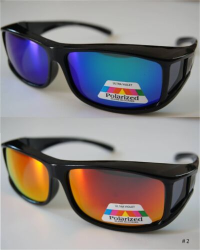 2 pcs 100/%UV Polarized sunglass wear//cover over RX glass w//mirror coating size M