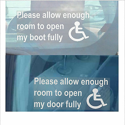 Please Allow Enough Room To Open My Door / Boot Fully-Disabled Car Sticker-Sign