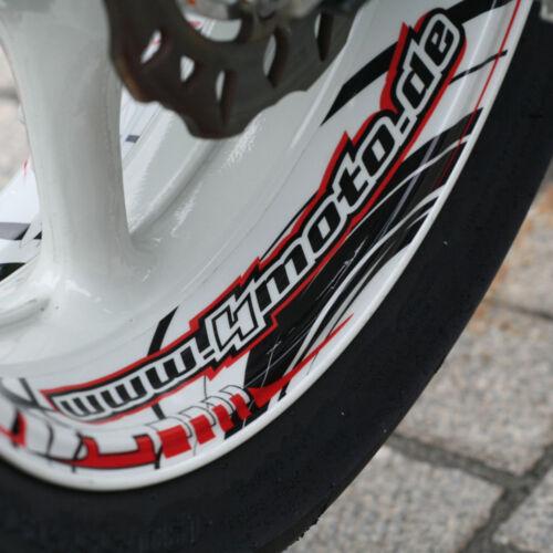 """Rot Felgenaufkleber Wheelskinzz® Felgendekor Wheelsticker /""""Roulettstyle/"""" Sch"""