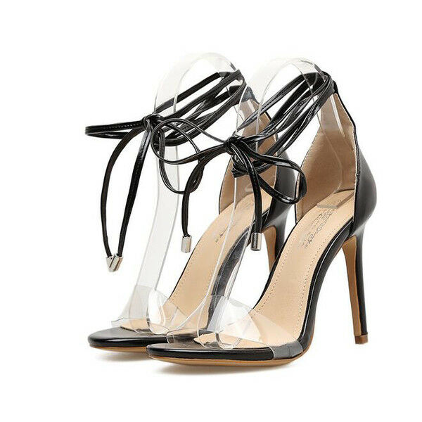 Sandali cm stiletto eleganti tacco 12 cm Sandali nero lacci simil pelle eleganti 1160 dab1b0