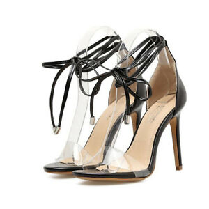 Simil Stiletto Sandali 12 Pelle Eleganti Lacci 1160 Cm Nero Tacco R4q0Fp4