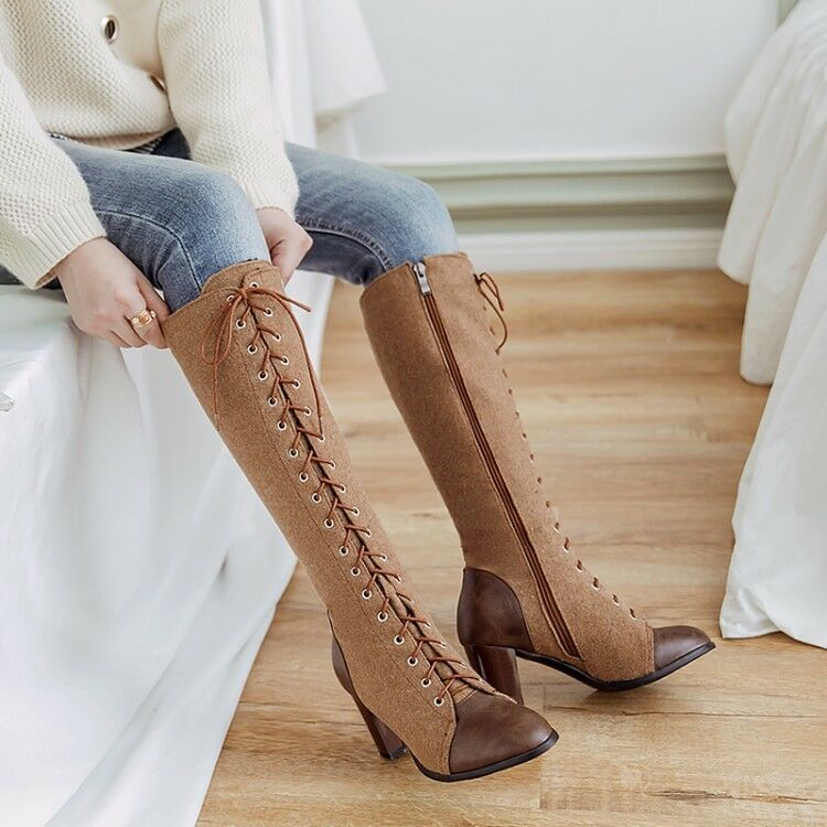 Women Riding Knee High Boots Motorcycle Retro Suede Leather Chunky Heels Shoes