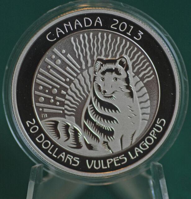 2013 Canada $20 Untamed Canada - Arctic Fox Coin 99.99% silver Proof finish