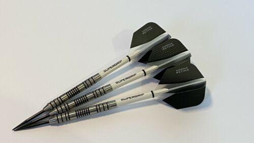 HARROWS RETINA Flights /& SUPERGRIP Stems 22g 95/% Tungsten knurled Darts Set