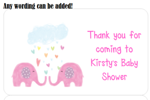 PERSONALISED PARTY BAG CONE FAVOUR ADDRESS LABEL STICKERS ELEPHANT 1ST BIRTHDAY