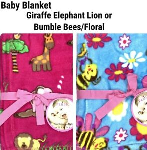 New Baby Kids Blanket Plush Fleece Elephant Giraffe Lion Bumble Bees Floral