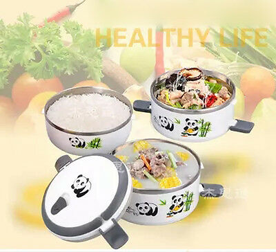 Panda Bamboo Stainless Steel Lunch Box Lnsulation Bento Lunch Box Food Container