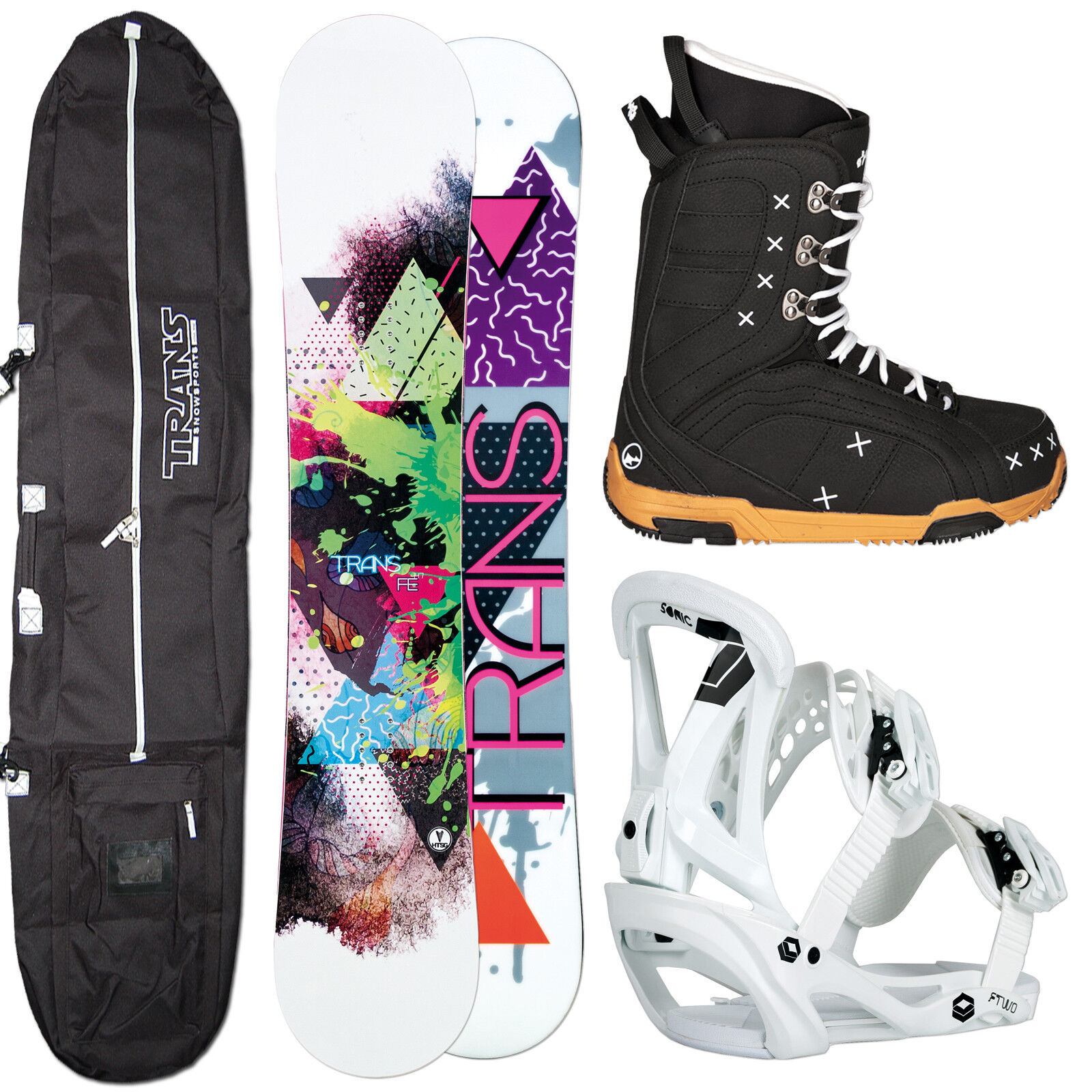 Women's Snowboard Set Trans Fe 150 cm + Ftwo Sonic Binding SIZE M + Boots+ Bag
