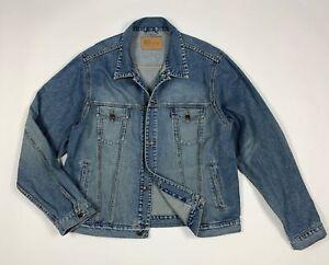Urban-jacket-jeans-uomo-usato-XXL-denim-giacca-giubbotto-giubbino-vintage-T6036