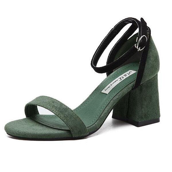 Sabot ciabatte 7 cm eleganti  vert  tacco quadrato sandali pelle sintetica 9956