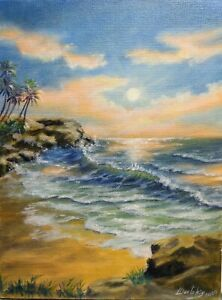 Art12-034-9-034-oil-painting-sunset-beach-Seascape-landscape-ocean-painting