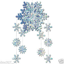 CHRISTMAS Winter or FROZEN Themed Party Decorations SNOWFLAKE 3-D HANGING MOBILE