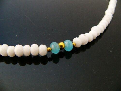 BAILYSBEADS prächtige milky weiss Jade /& Aquamarin Halskette Kette neu 47cm