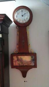 VINTAGE OLD WALL HANGING GILBERT BANJO CLOCK USA MODEL 3707 RARE