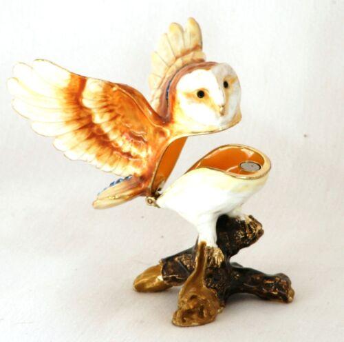 Owl Design Enamel Pill Trinket Jewelled Box Collectable Presentation Boxed