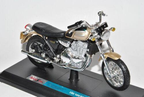 Triumph Thunderbird Grün Beige Mit Sockel 1//18 Maisto Modell Motorrad mit oder..