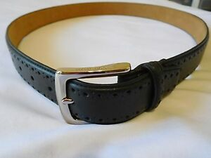 bbc105554c0 Cole Haan Belt Men Size 34 Perforated Trim Dress Belt BLACK New