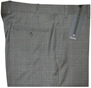 325-NEW-ZANELLA-ITALY-NORDSTROM-DEVON-GRAY-TONE-PLAID-SUPER-120-039-S-WOOL-PANTS-34
