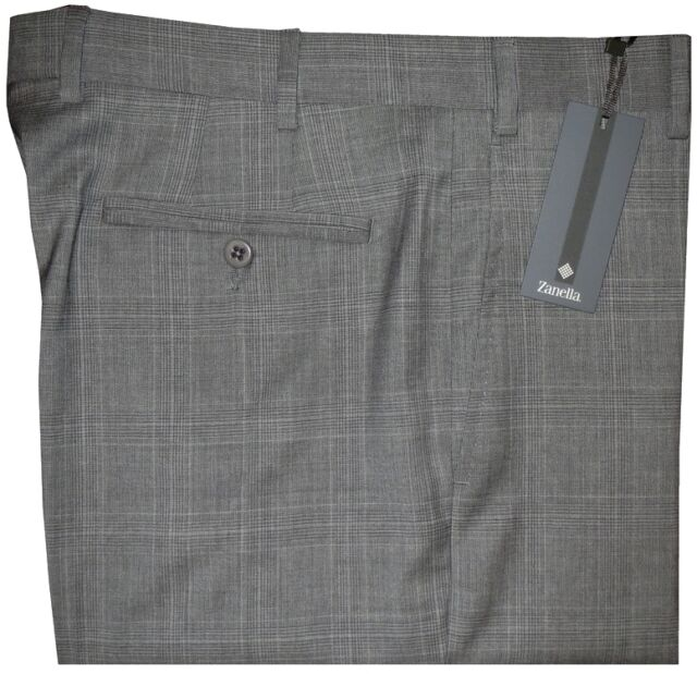 $325 NEW ZANELLA NORDSTROM DEVON GRAY TONE PLAID SUPER 120'S WOOL DRESS PANTS 35