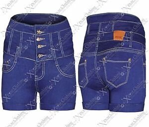 NEW-LADIES-HIGH-WAISTED-DENIM-HOT-PANTS-SKINNY-JEANS-BLUE-WOMENS-SHORTS-FESTIVAL