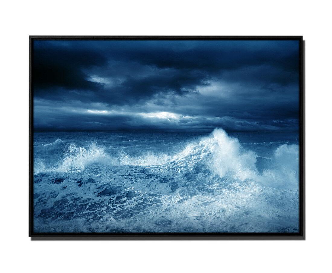105x75cm Leinwandbild Petrol Meer Sturm
