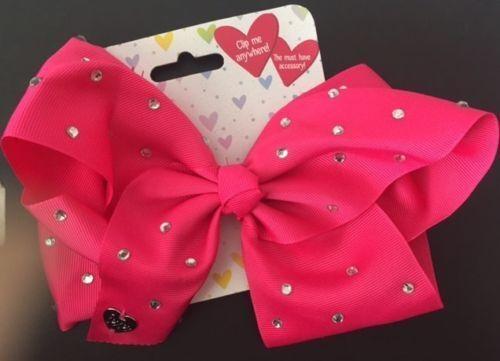 Girls Oversized Hair Clips Shoe Bag Bows Gems Crystal Grosgrain Ribbon Fashion