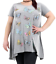 Plus-Size-Ladies-Short-Sleeve-Butterfly-Print-Dip-Hanky-Hem-Casual-T-Shirt-Top thumbnail 2