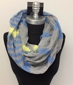 Mens-Fashion-Infinity-Circle-Scarf-Soft-Neck-Cowl-Wrap-Striped-Blue-Gray-yellow