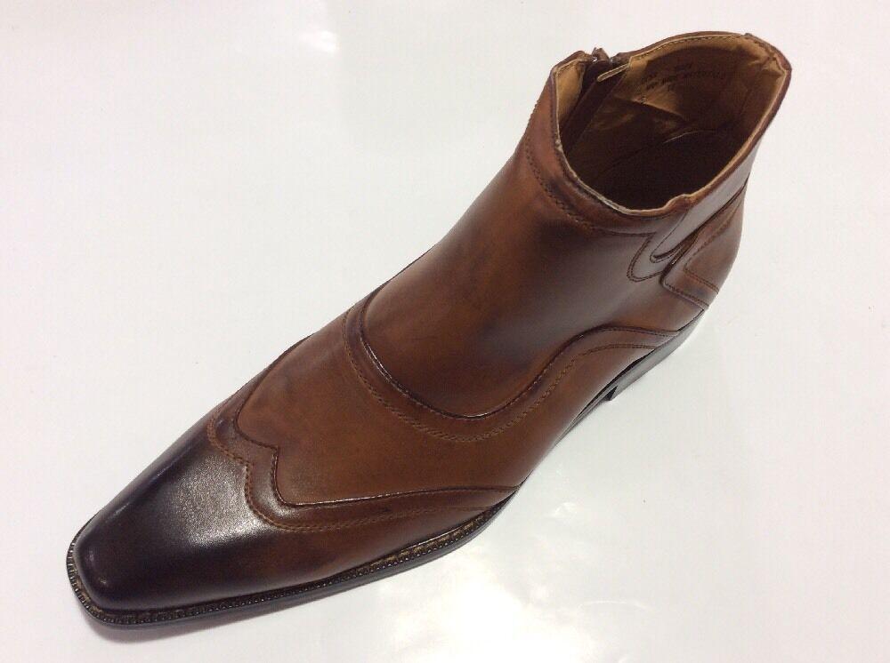 Herren Formelle Schuhe Salvator Cognac Stiefeletten Reißverschluss Künstlicher