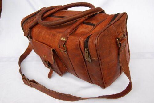 Mens Brown Vintage Genuine Travel Luggage Duffel Gym Bags Tote Goat Leather