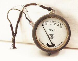 vtg-antique-Tiffany-mfg-co-1910-30-pocket-voltmeter-dial-gauge-tester-rare-tool