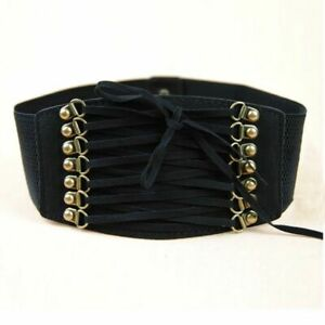 Vintage 90s Lace-Up Corset Wide Black Belt Steampunk Pirate Stretch Elastic Belt