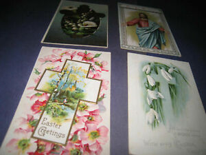 4-Vintage-Postcards-Easter-Themed-Religious-Christian-Cross-4t4