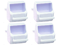 Lot Of 4 Universal Bird Cage Replacement Plastic Feed Cup Seed Water Feeder