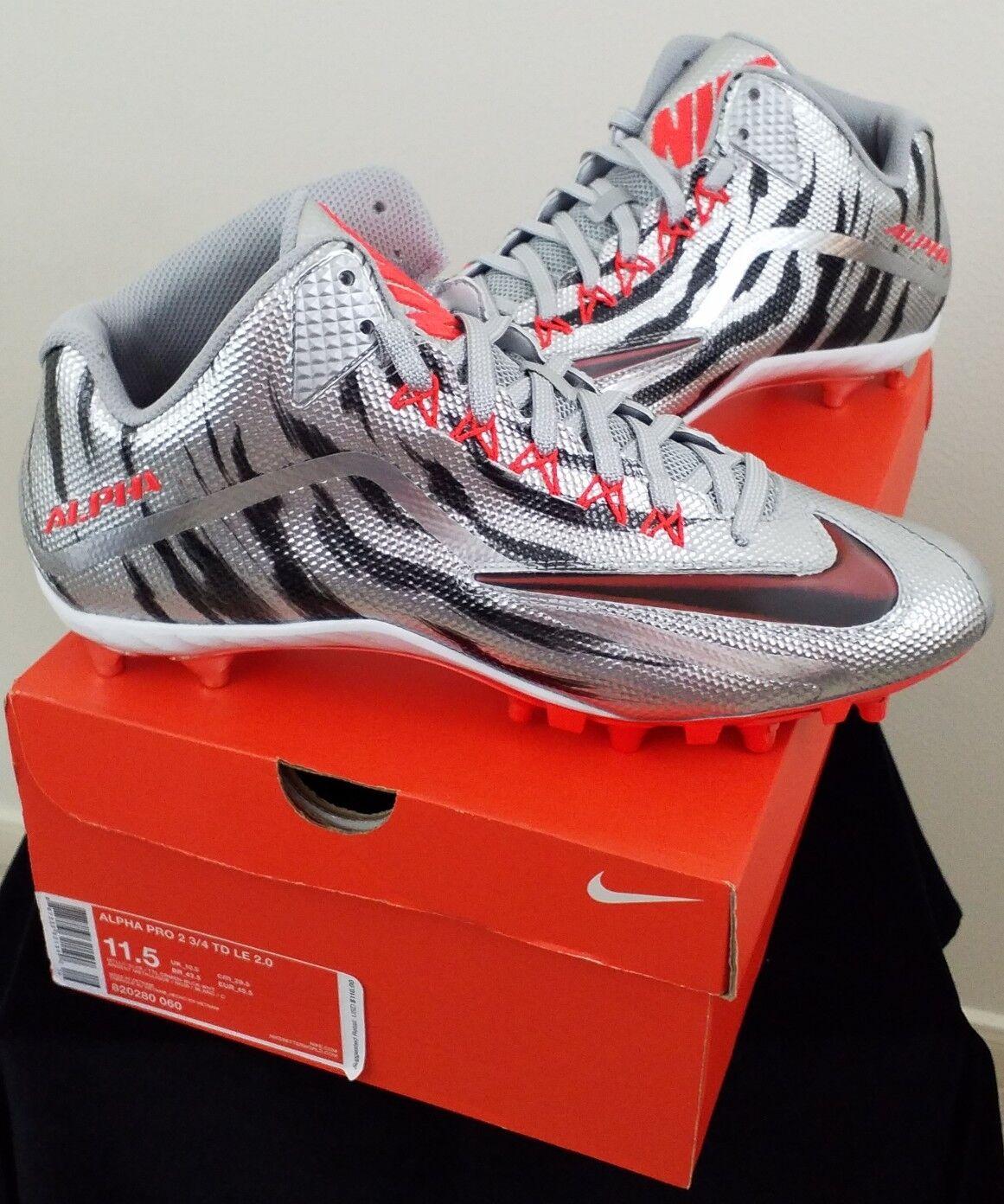 Nike Alpha Pro Pro Pro 2 3 4 TD LE 2.0 Metallic Silver Football Cleat 820280-060 Sz 11.5 f7aeaa