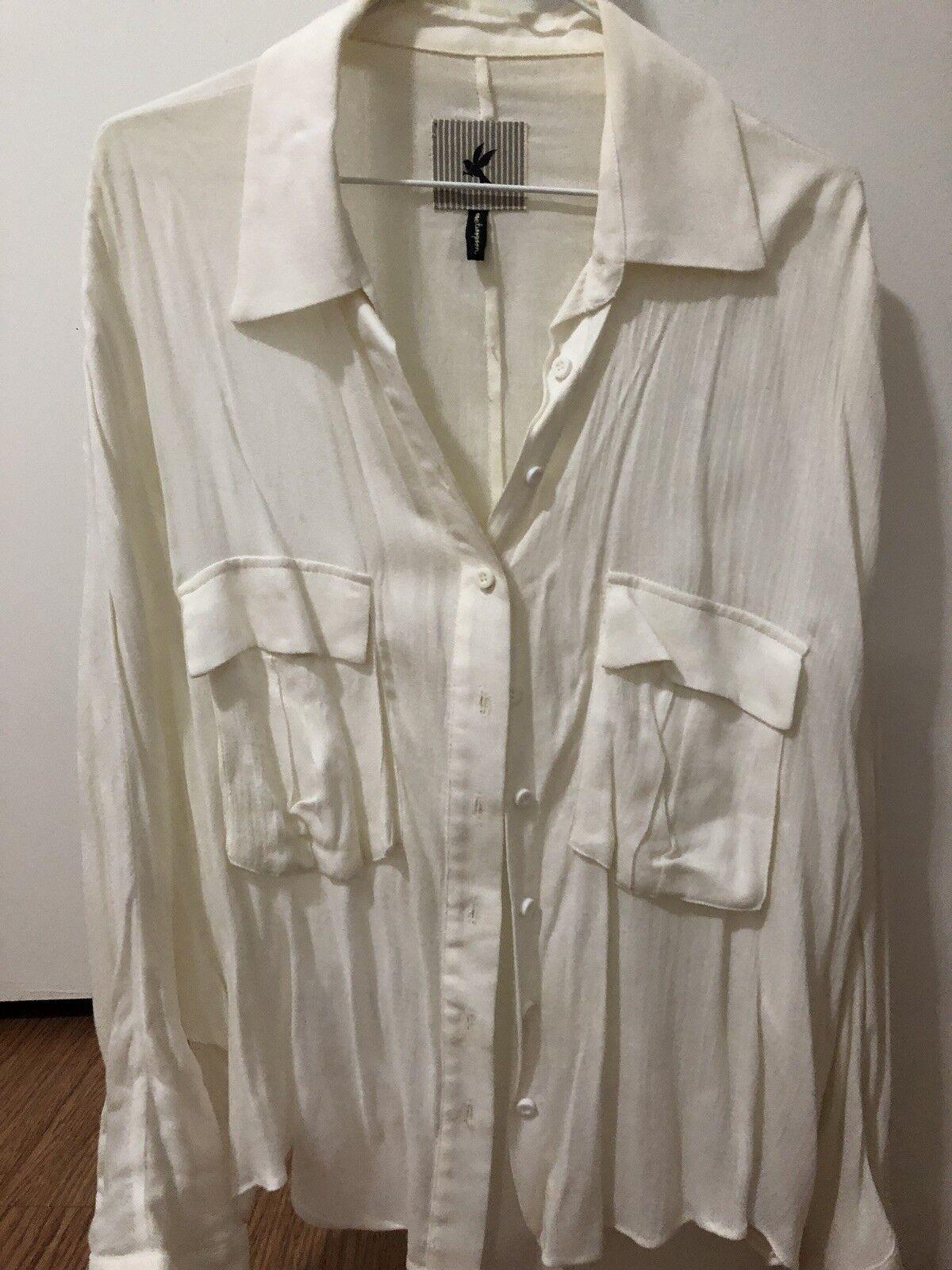 One Teaspoon Cropped Oversized White Classic Shirt SZ 6 XS