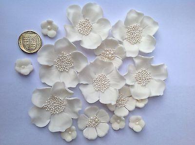 Edible sugar flowers wedding cake decorations. 15 Ivory, cream or white flowers