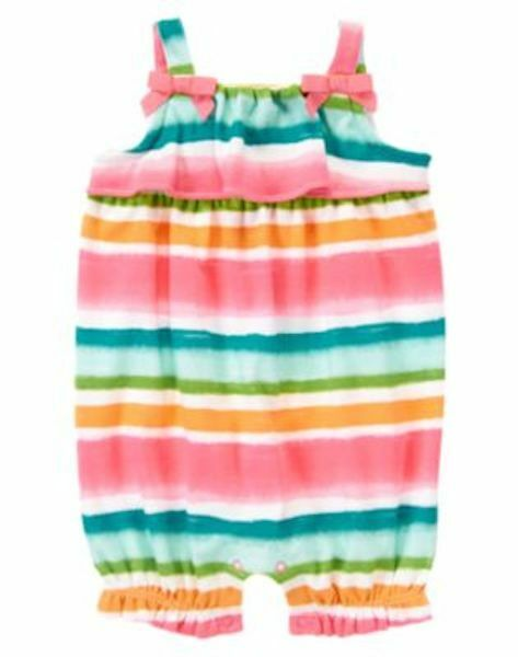 4ed846fd0816 NEW Gymboree FLAMINGO FLAIR Bubble Romper Knit Painted Striped 12 18 24 Baby
