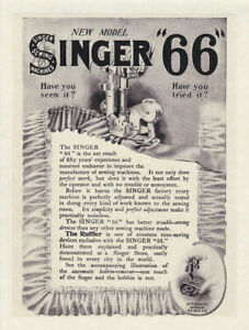 SINGER-SEWING-MACHINE-66-Vintage-8-x-10-034-REPRINT-AD-1906-Ruffler-Antique