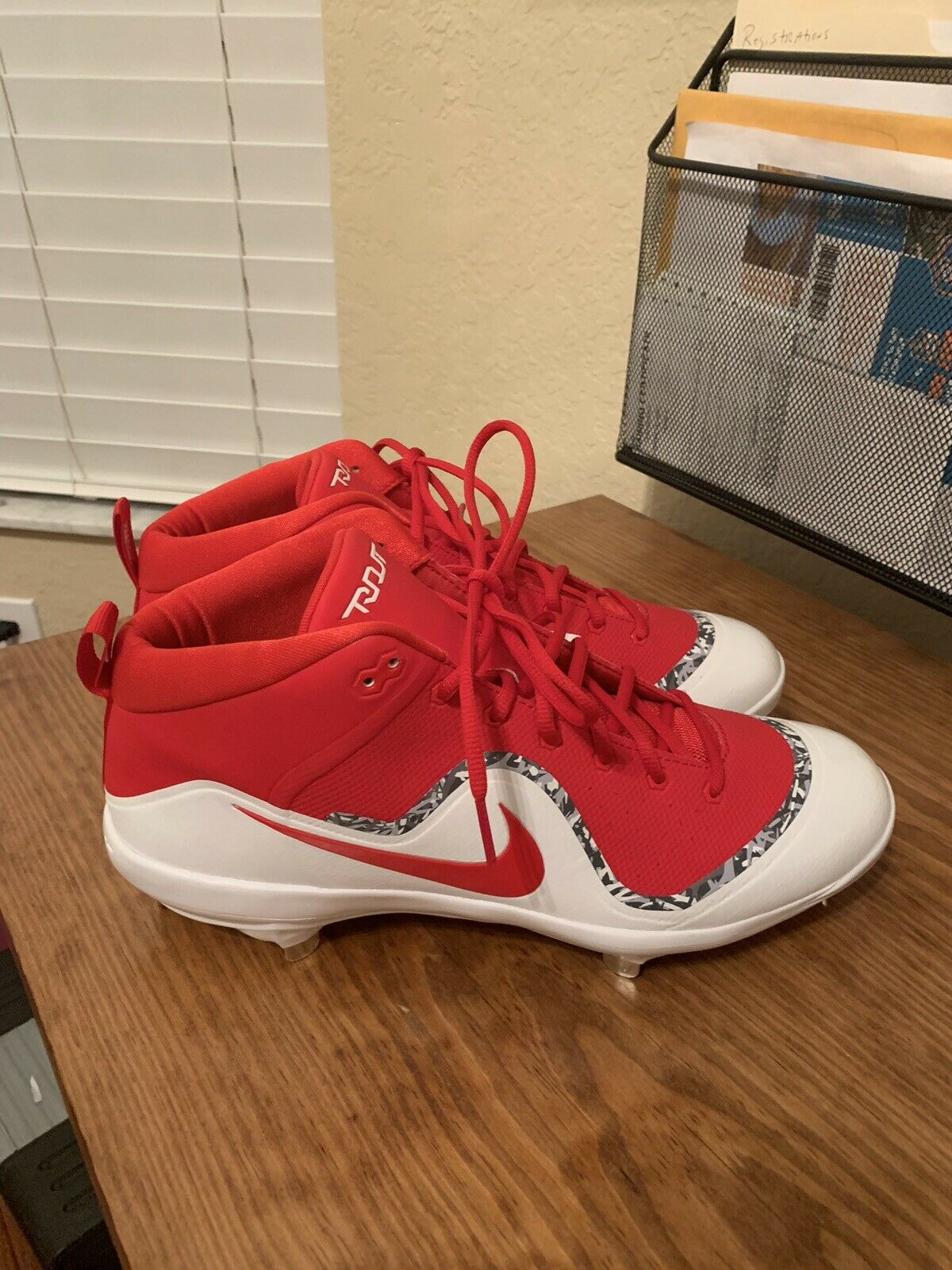 3df335a4c06 NEW NIKE Force Air Trout 4 Pro Metal Red White Baseball Size 12 - SH Cleats  FREE nvicqd2558-Men