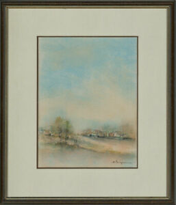 Framed-20th-Century-Watercolour-Bougival-Yvelines-France