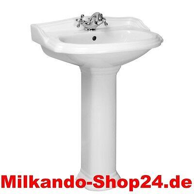 Spülstein Waschbecken Keramik Classic Retro Waschtisch mit Säule