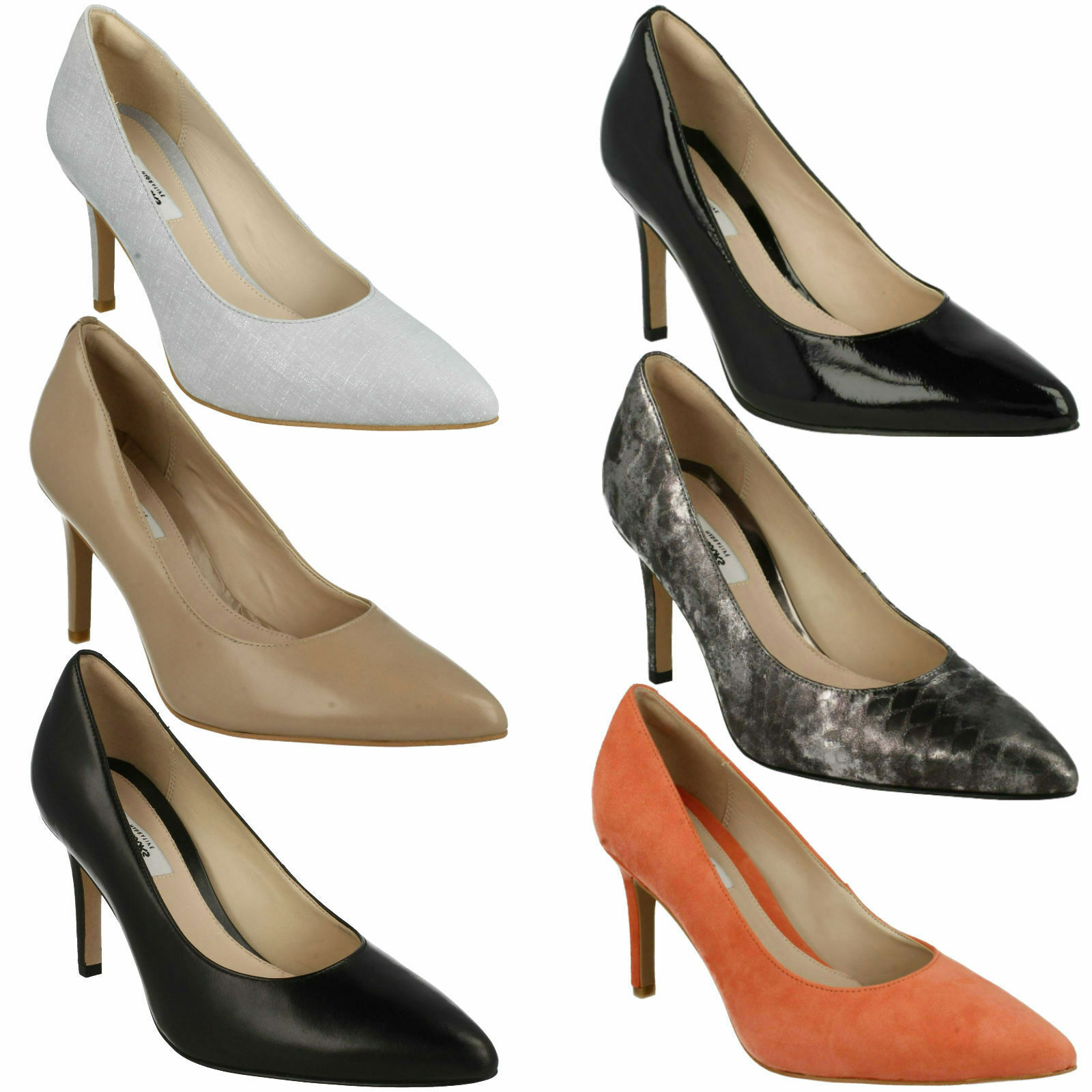 Dinah Keer Damen Clarks Stiletto ohne Bügel spitz zulaufend Kleid Pumps