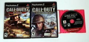 Lot of 3 Call of Duty (Finest Hour, Big Red One & World at War) PlayStation 2