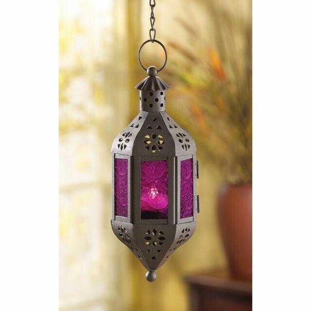 Hanging Candle Lantern Mystical Moroccan Style  w/ Purple Pressed Glass