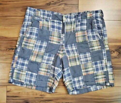 LL Bean Mens Shorts Plaid Patchwork Quilt Blue Yel